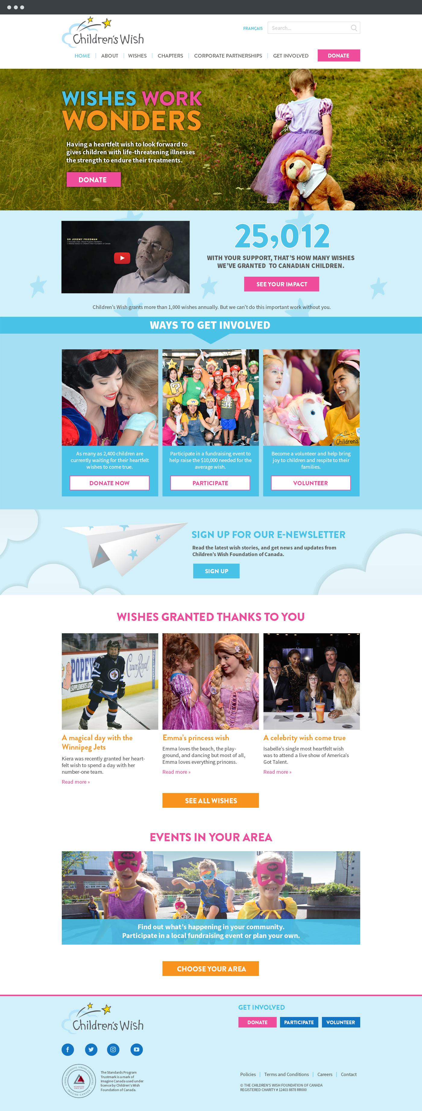 Children's Wish Foundation homepage design