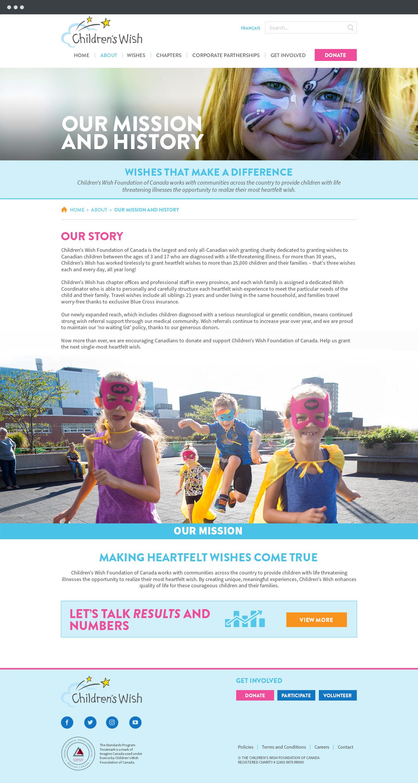 Children's Wish Foundation mission page design
