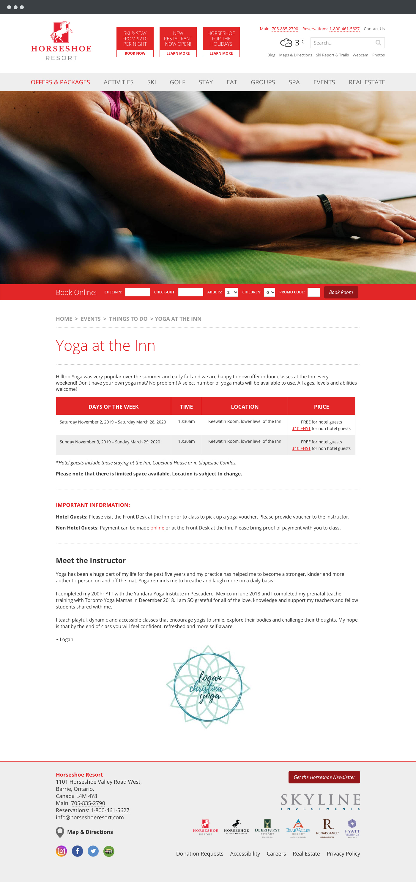 Horseshoe Resort website design 2