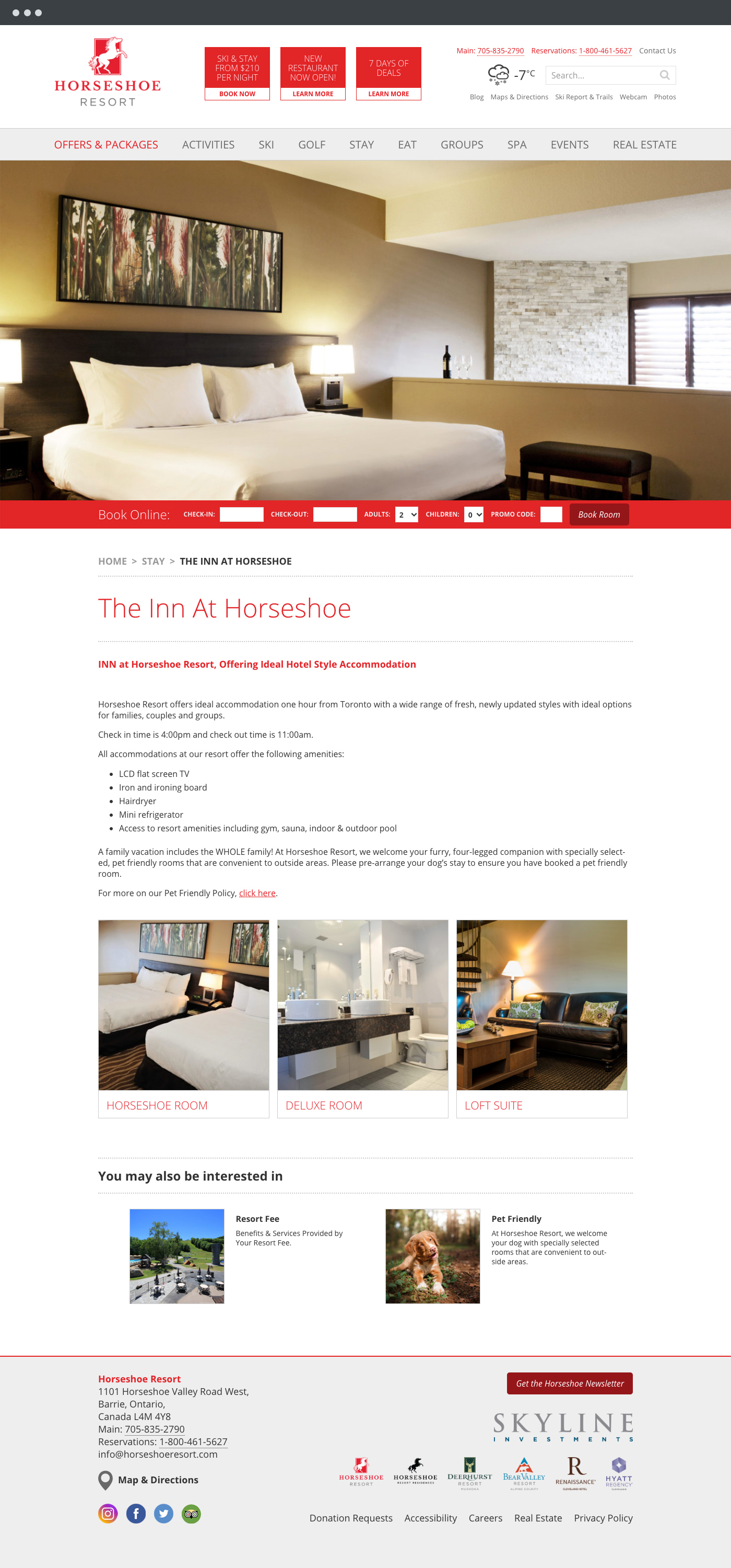 Horseshoe Resort website design 3