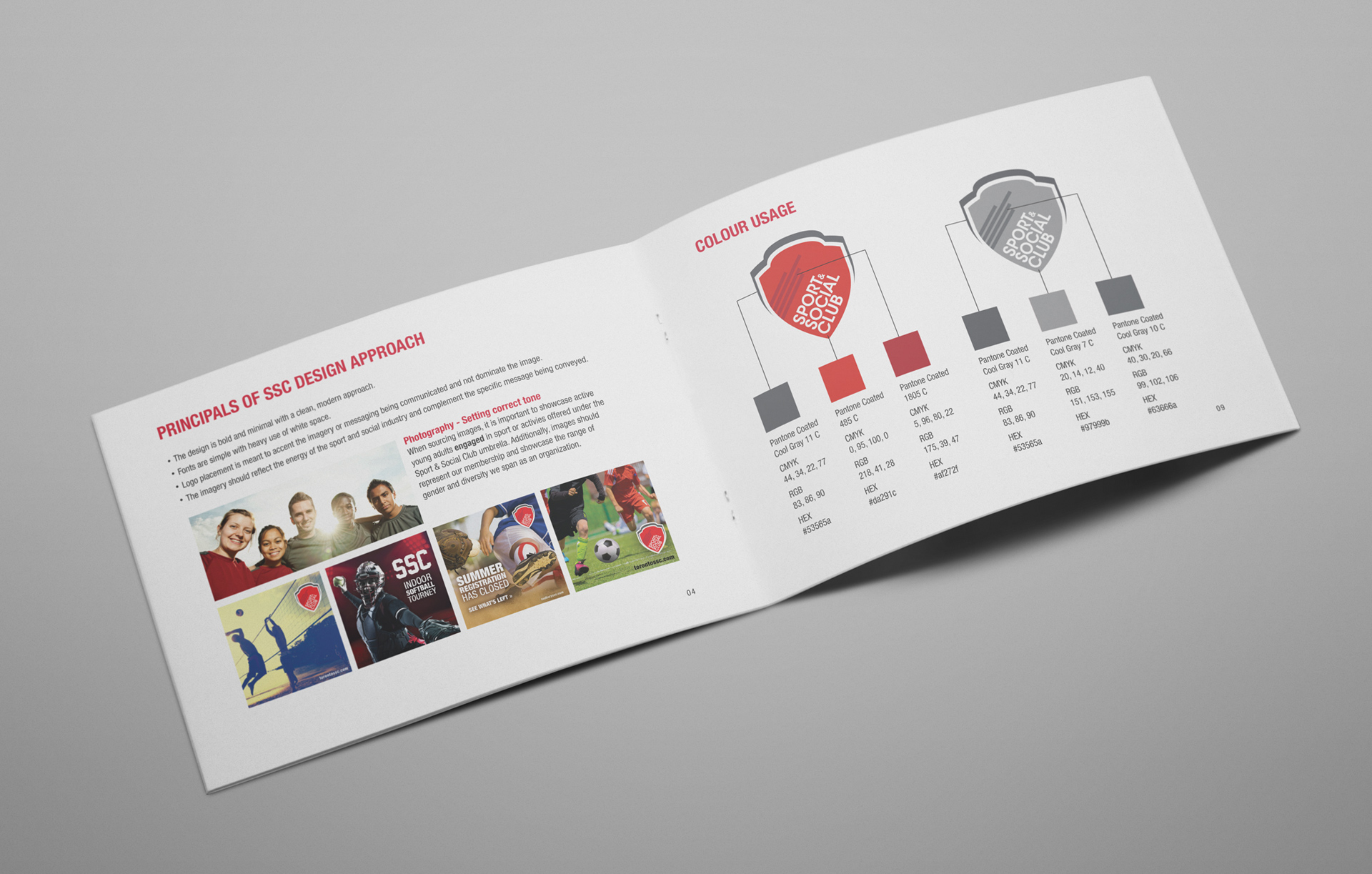 Sports & Social Club corporate style guide spread 2