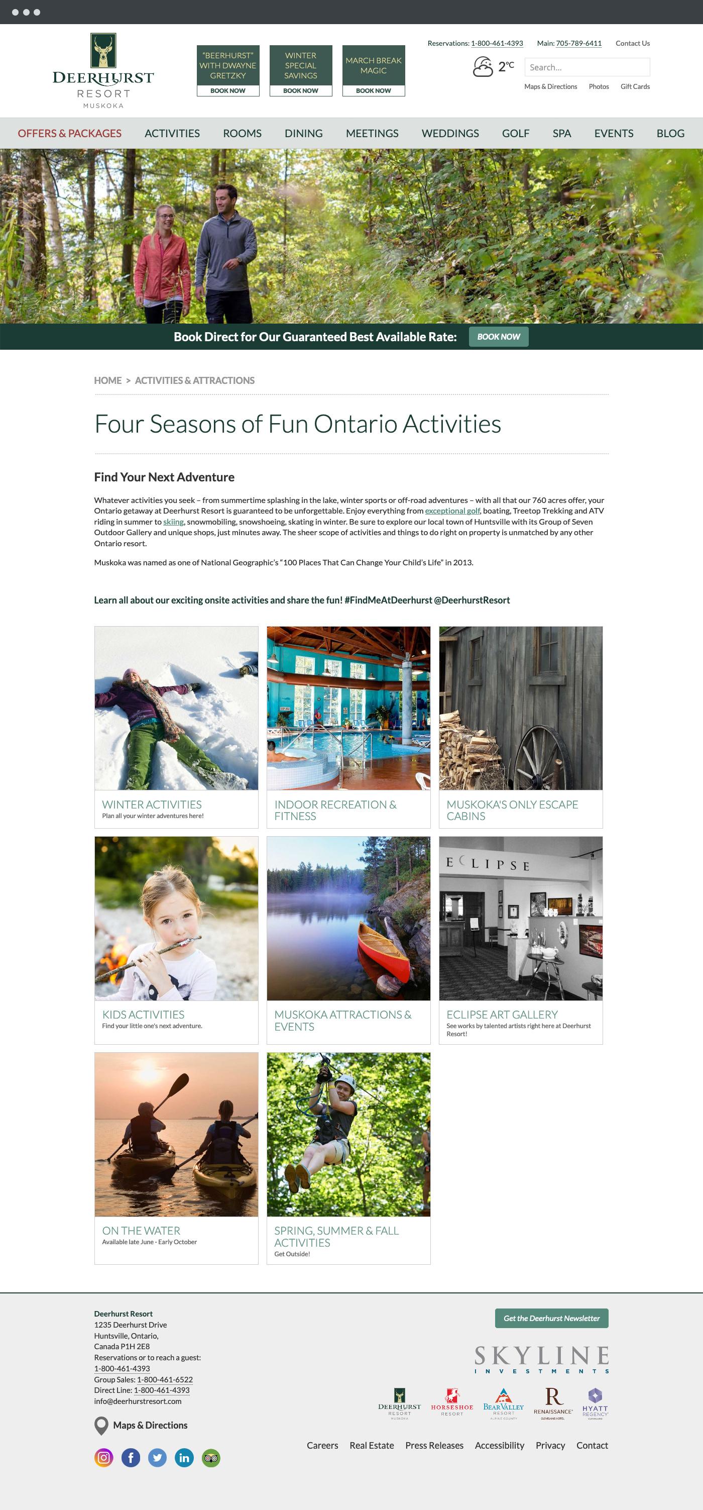 Deerhurst Resort attractions page