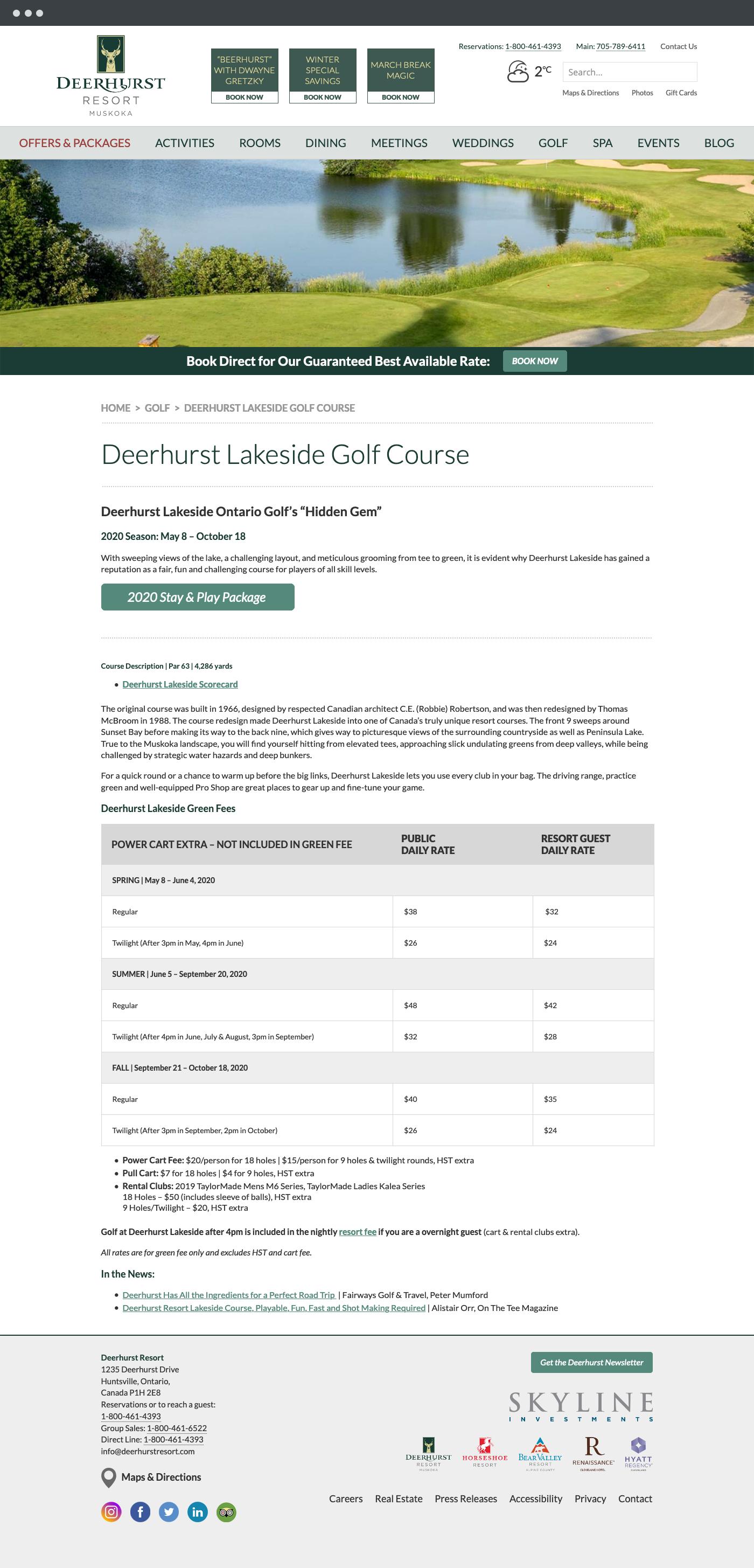 Deerhurst Resort golf page