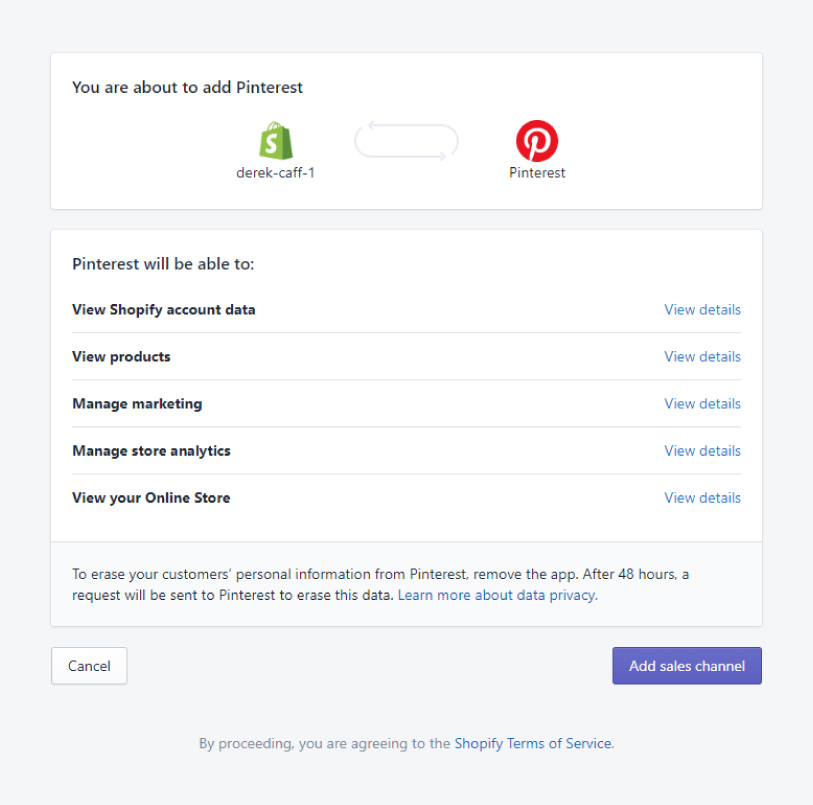 An image of permissions for the Pinterest app in Shopify