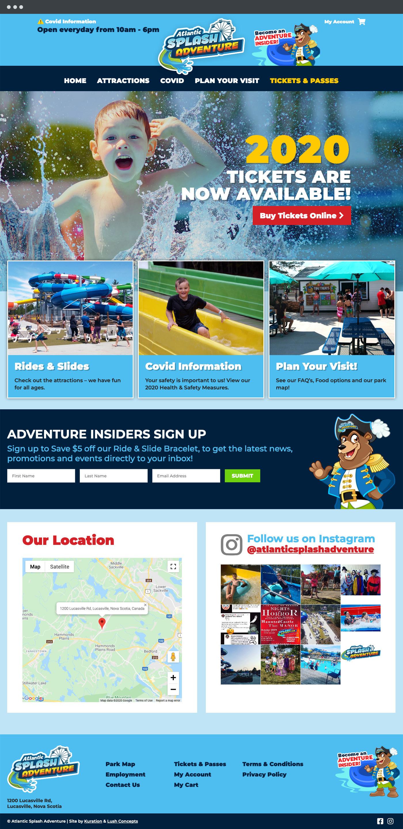 Atlantic Splash Adventure homepage design