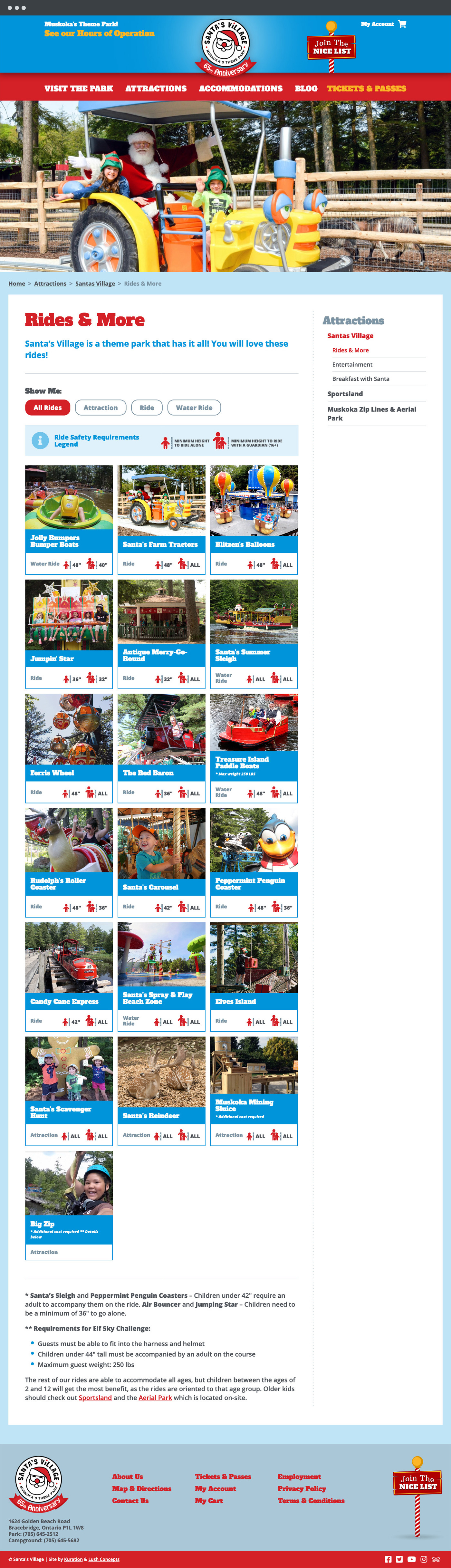 Santa's Village Rides page design
