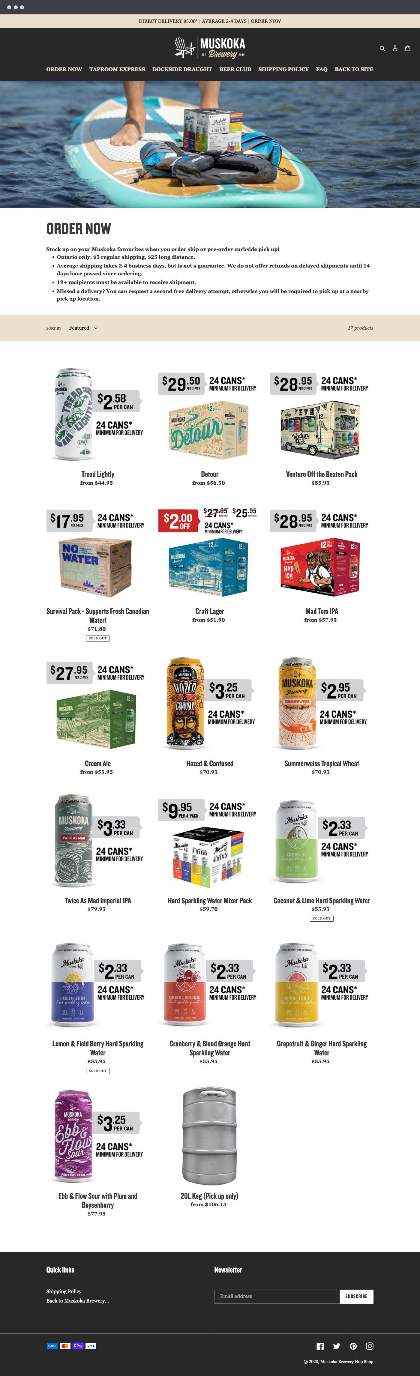Muskoka Brewery store page