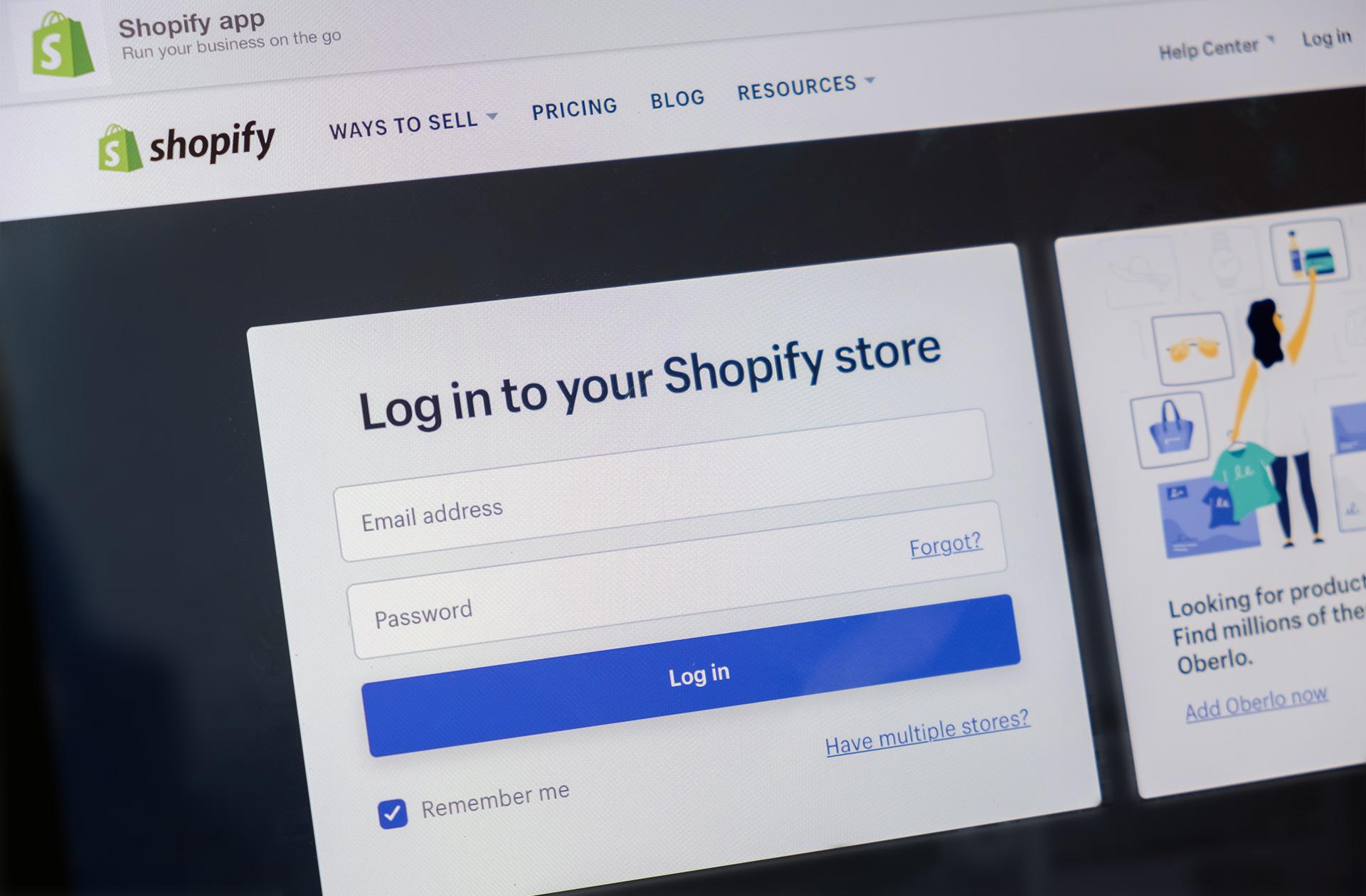 Shopify login screen