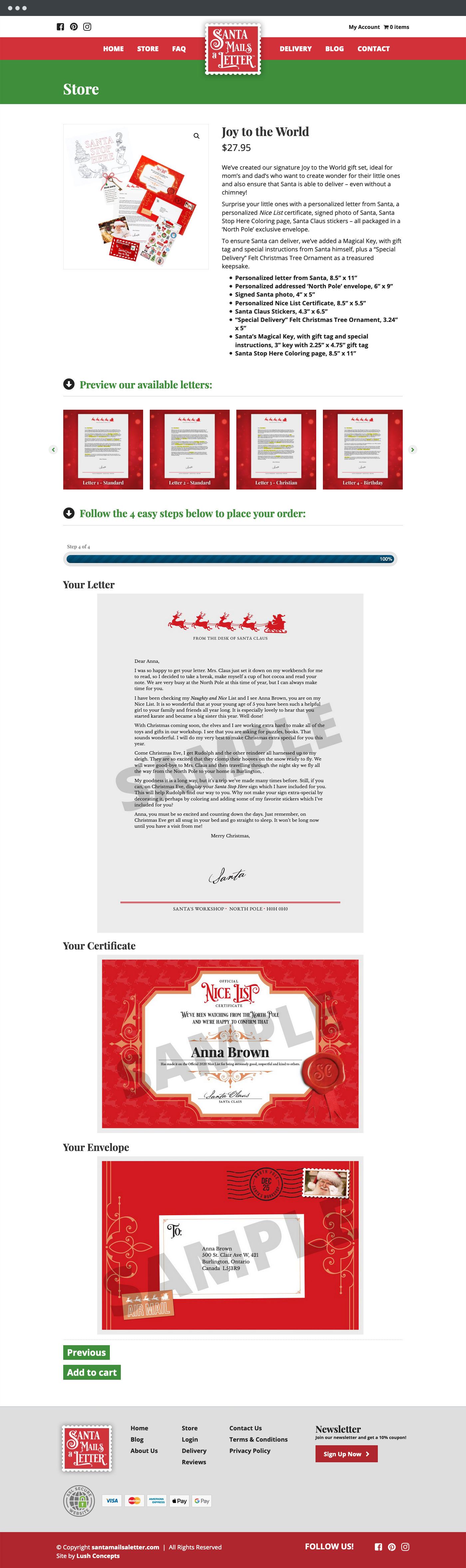 Santa Mails a Letter live preview checkout