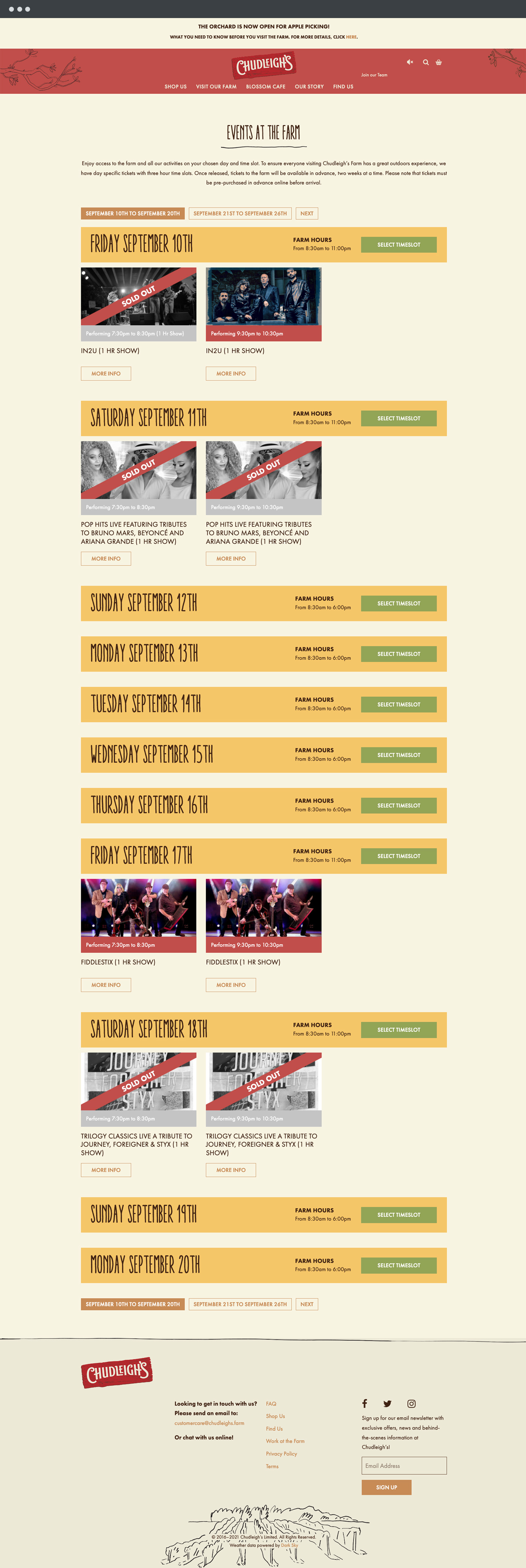 Chudleigh's farm event page design